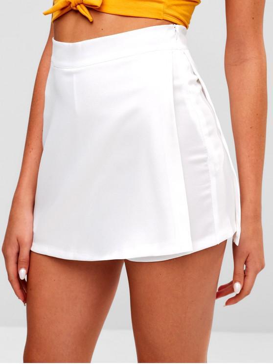 fashion Zipper High Waist Plain Skorts - WHITE 2XL