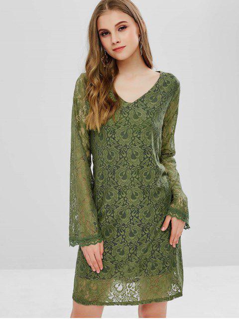 best Long Sleeve Tunic Lace Dress - HAZEL GREEN M Mobile