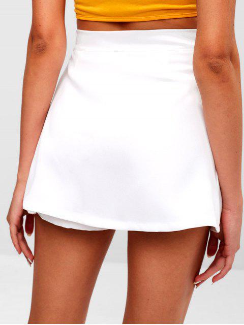 women Zipper High Waist Plain Skorts - WHITE M Mobile
