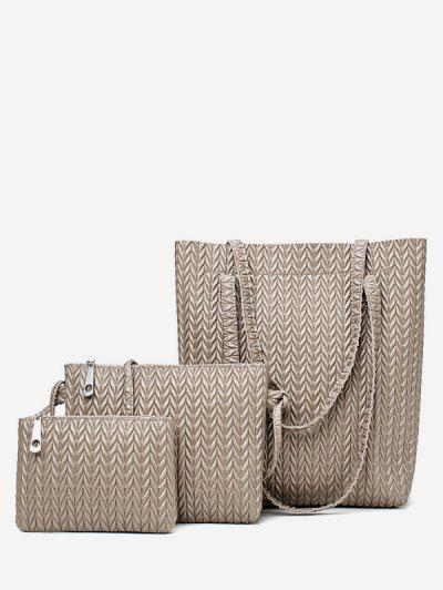 6a2d8715cbd9 Jacquard Printed Shoulder Bag Set - Beige - Beige