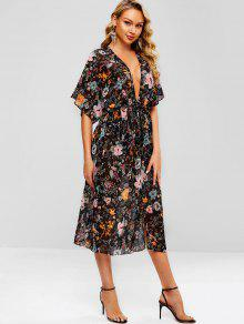 2619b1caea4 27% OFF  2019 Floral Plunging Slit Batwing Sleeve Dress In MULTI-A ...