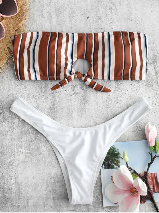 ZAFUL  Gestreiftes Bikini-Set Mit Schlüsselloch - Weiß L