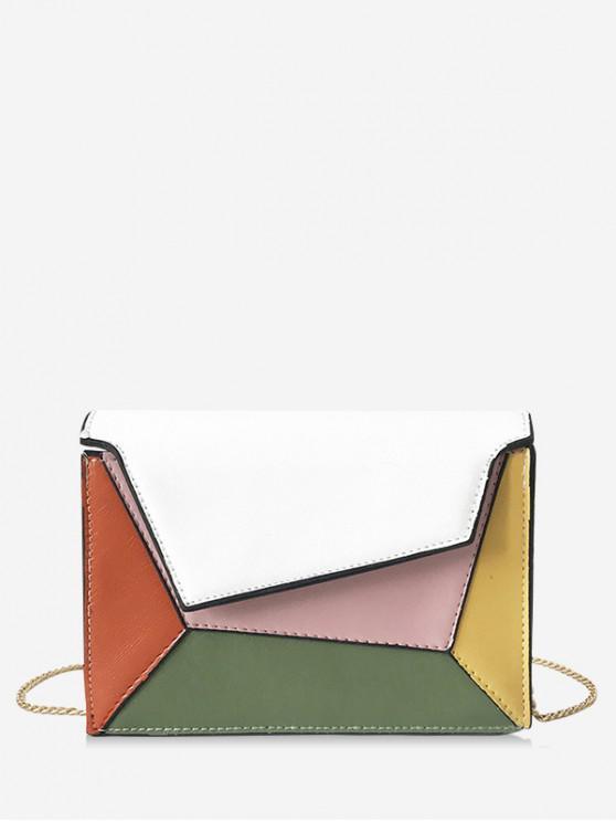 buy Color Block Chain Crossbody Shoulder Bag - WHITE
