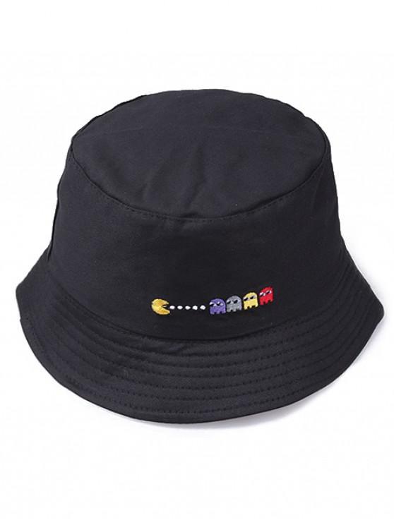 sale Embroidered Pacman Pattern Bucket Hat - BLACK