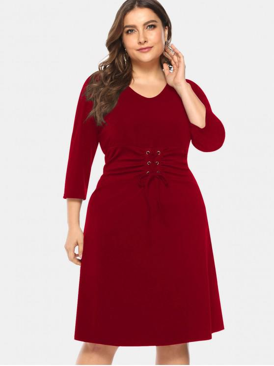 lady Knee Length Plus Size Lace-up Dress - RED WINE 1X