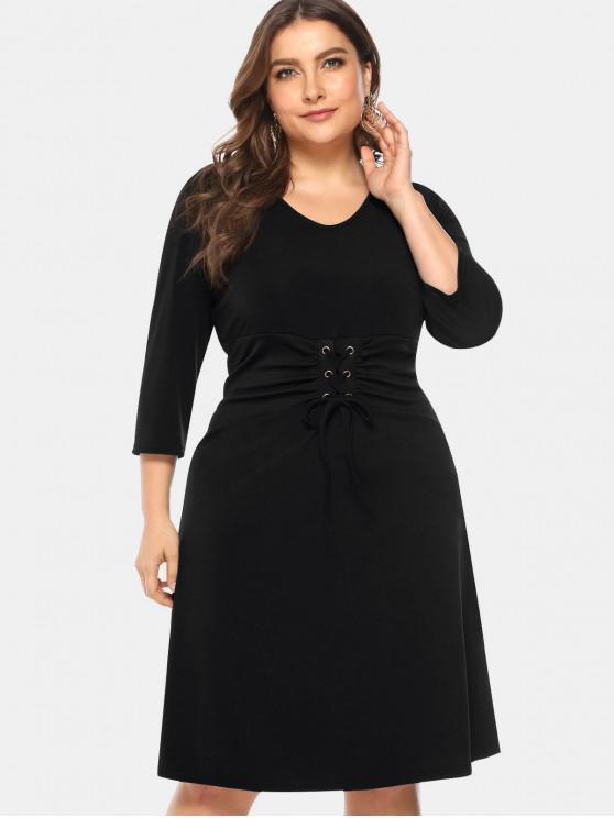 outfit Knee Length Plus Size Lace-up Dress - BLACK 3X
