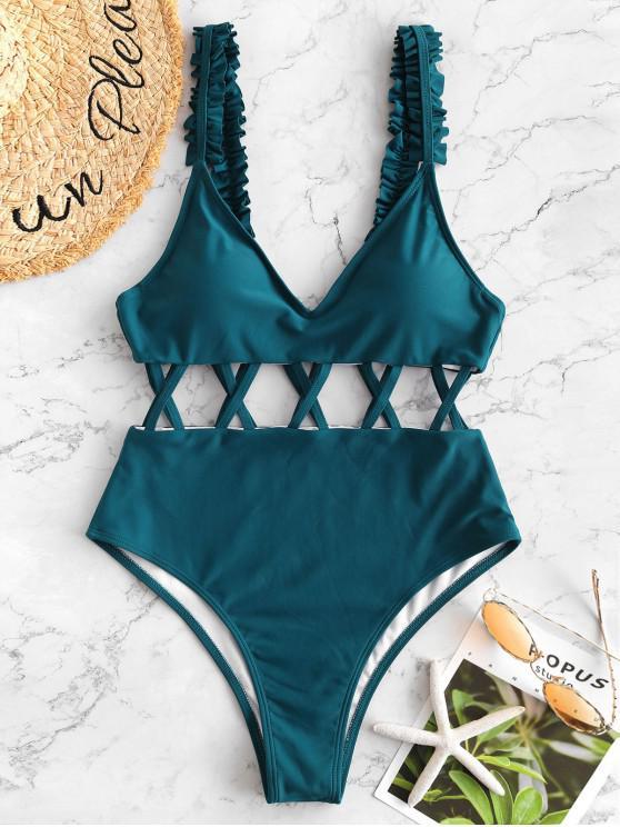 chic ZAFUL Frill Criss Cross Open Back Swimsuit - PEACOCK BLUE M