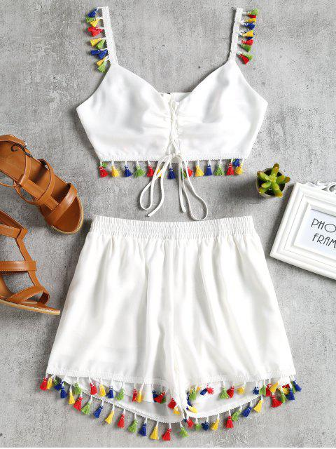 women's Lace Up Tassels Cami Suit - WHITE L Mobile