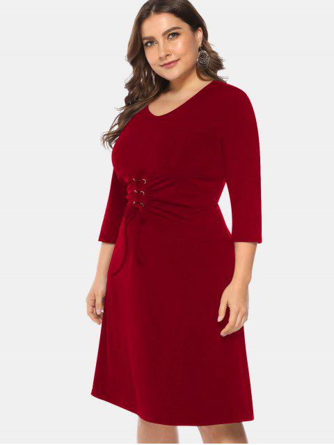 lady Knee Length Plus Size Lace-up Dress - RED WINE L Mobile
