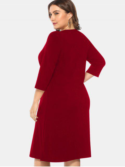 fashion Knee Length Plus Size Lace-up Dress - RED WINE 3X Mobile