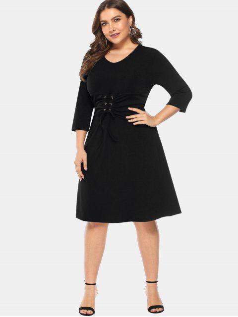 ladies Knee Length Plus Size Lace-up Dress - BLACK L Mobile