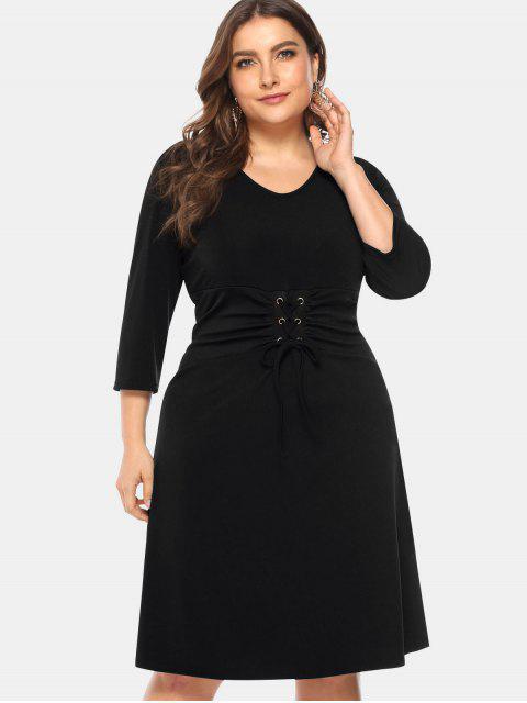 chic Knee Length Plus Size Lace-up Dress - BLACK 1X Mobile