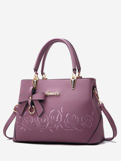 0c81819a1a63 Embroidered Rose Flower Bowknot Handbag - Viola Purple ...