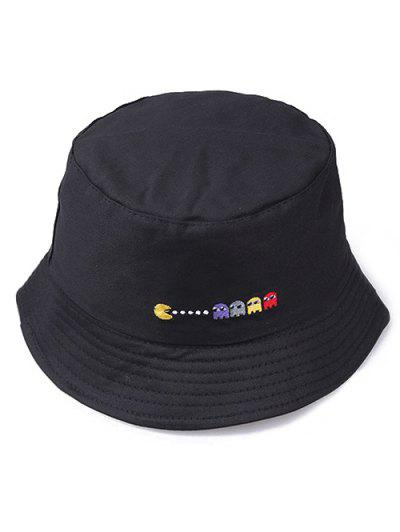 63eab14254f Embroidered Pacman Pattern Bucket Hat - Black