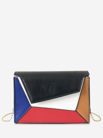 db32d7af44 Color Block Chain Crossbody Shoulder Bag - Black ...