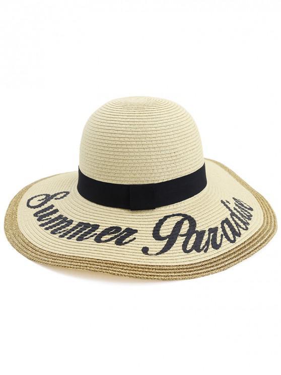 hot Foldable Beach Straw Woven Hat - BEIGE