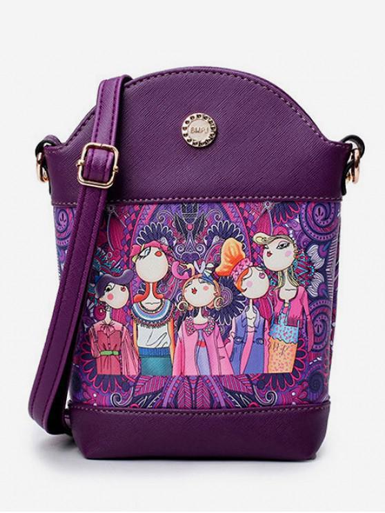 fashion Crossbody Girl Pattern Printed Shoulder Bag - DARK ORCHID