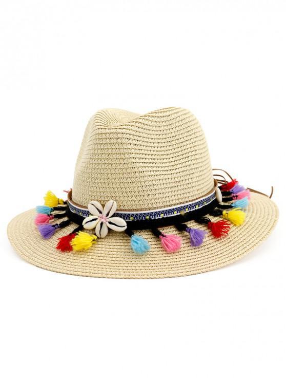 women's Beach Tassel Flower Straw Sun Hat - BEIGE