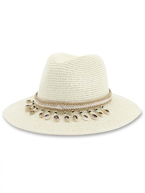 ladies Beach Conch Beads Decor Straw Hat - WARM WHITE