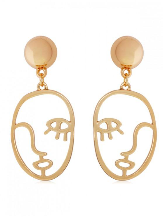 trendy Abstract Face Shape Metal Earrings - GOLD