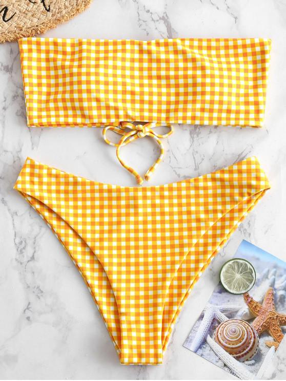 outfits ZAFUL Checkered Lace Up Multiway Bikini Set - MULTI-A M