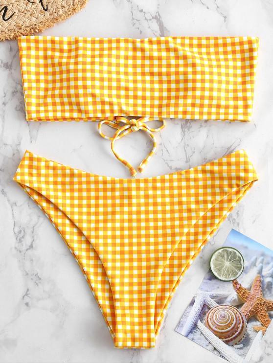 womens ZAFUL Checkered Lace Up Multiway Bikini Set - MULTI-A S