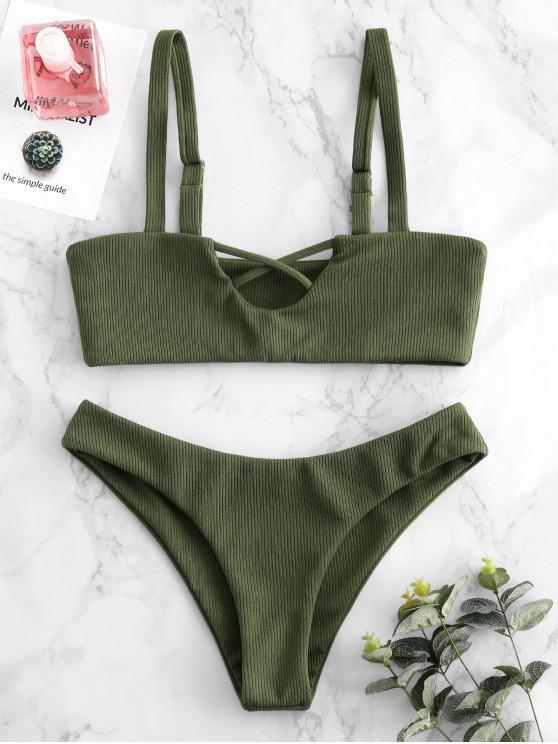 fashion ZAFUL Ribbed Criss Cross Bralette Bikini Set - HAZEL GREEN M