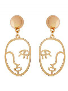 Abstract Face Shape Metal Earrings - Gold