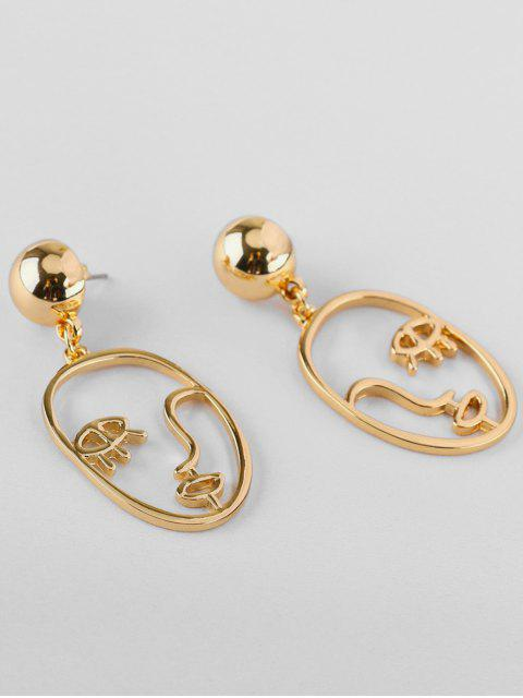 trendy Abstract Face Shape Metal Earrings - GOLD  Mobile