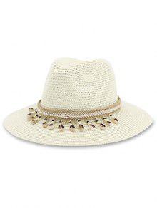 الشاطئ القوقع هاتش الخرز الديكور قبعة - الأبيض الدافئ