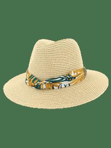 15516d302c0 NEW  2019 Print Leaf Decor Straw Sun Hat In BEIGE