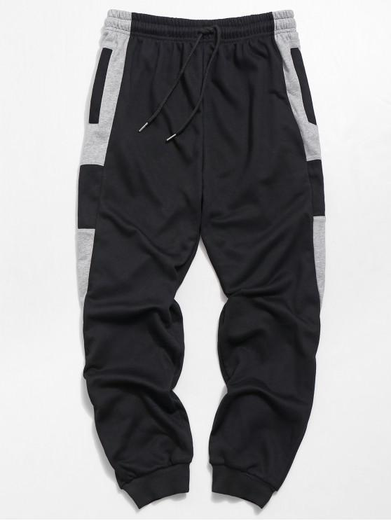 ladies Contrast Tapered Jogger Pants - BLACK L