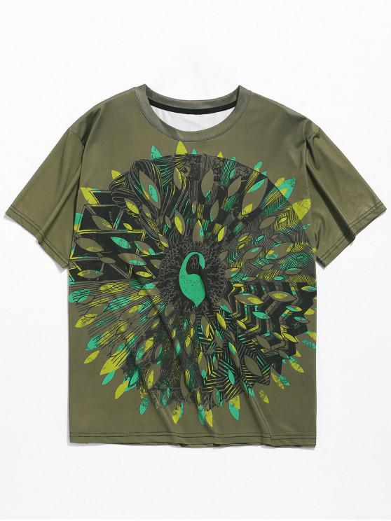 outfits Open Peacock Print Casual T-shirt - ARMY BROWN 2XL