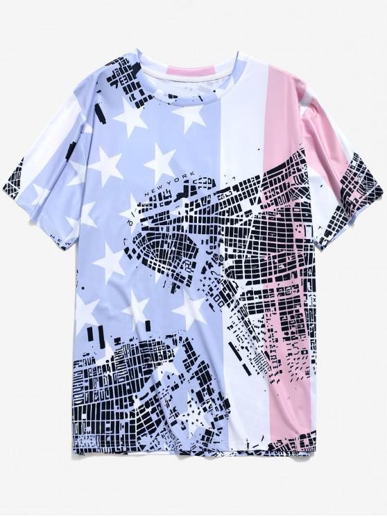 shop Graphic Flag Print Round Neck T-shirt - MULTI 2XL