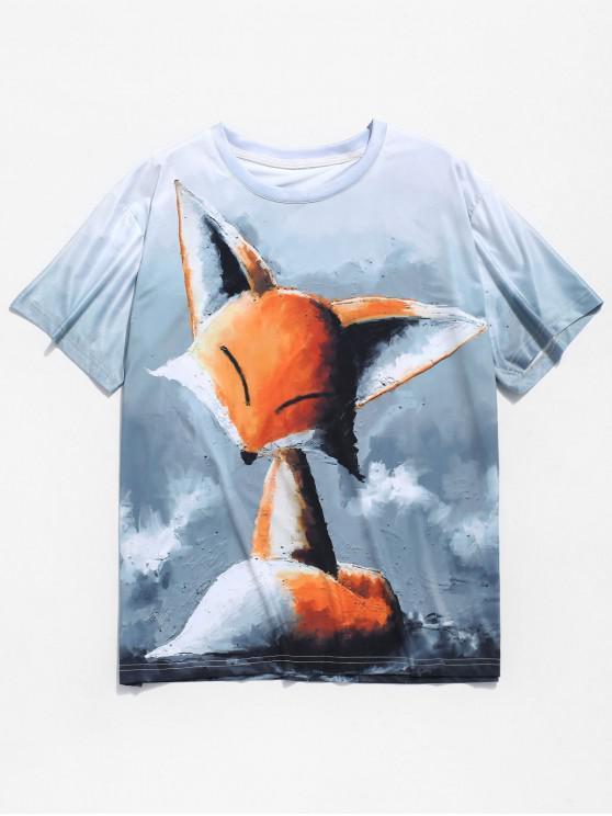 women Fox Painting Print Short Sleeves T-shirt - BLUE GRAY 2XL
