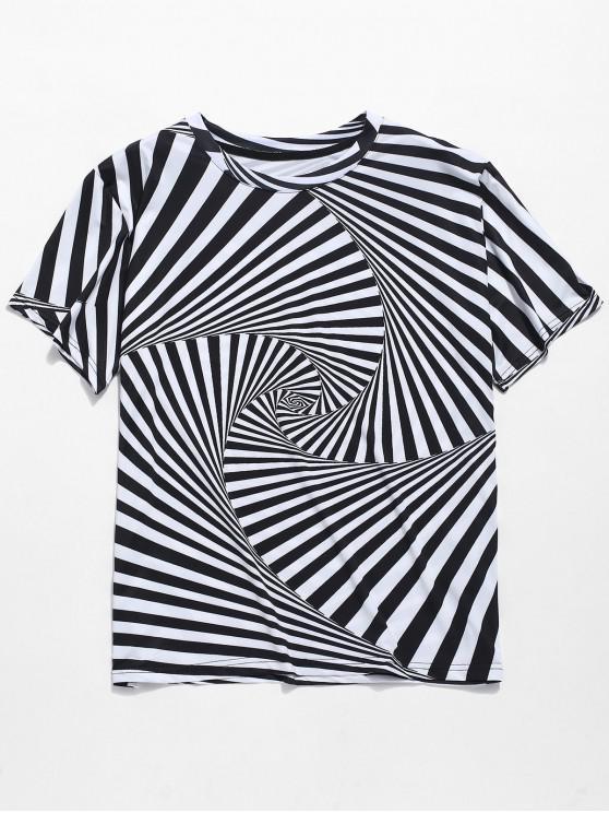 Camiseta con estampado de remolinos a rayas con cuello redondo en 3D - Negro S