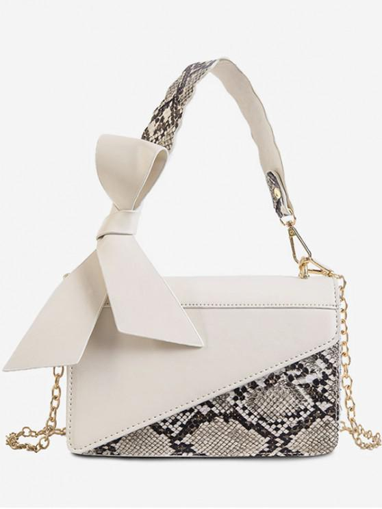 latest Bowknot Snake Insert Crossbody Bag - WHITE