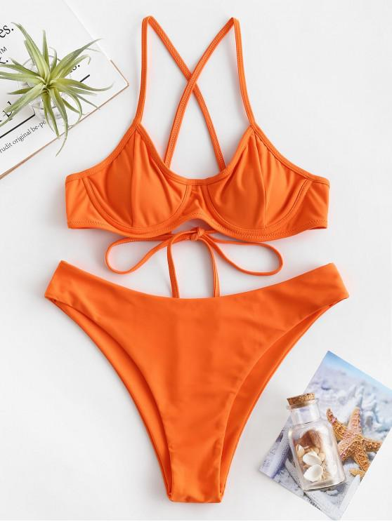 ZAFUL Ensemble de Bikini Croisé à Armature - Orange Citrouille L