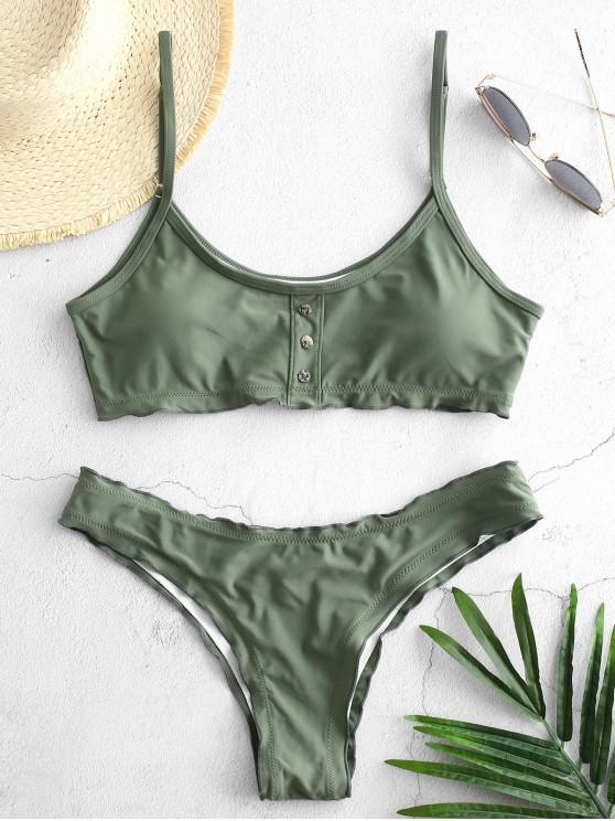 affordable ZAFUL Buttoned Lettuce Bralette Bikini Set - CAMOUFLAGE GREEN M