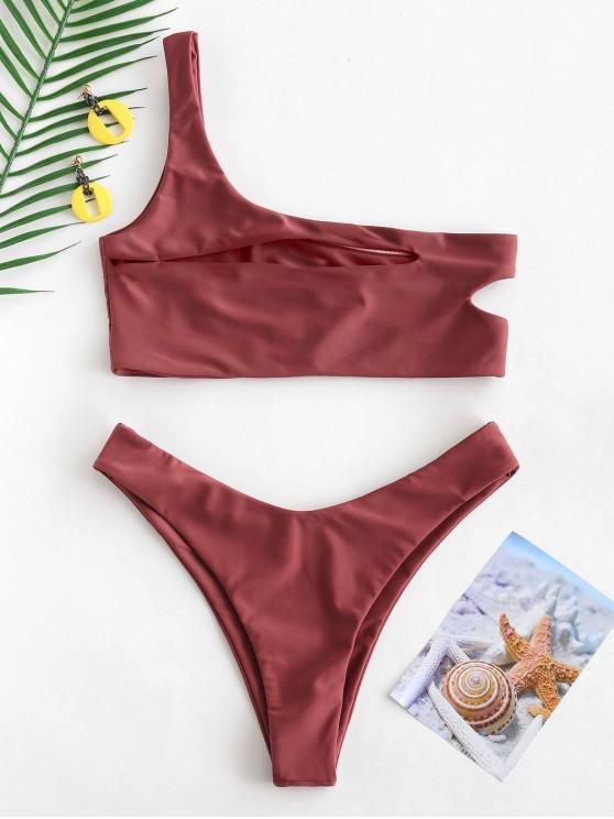 hot ZAFUL One Shoulder Cut Out Bralette Bikini Set - CHESTNUT RED S