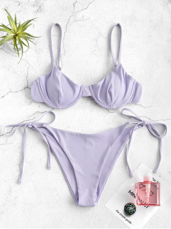 buy ZAFUL Ribbed Underwire Bikini Set - LAVENDER BLUE L