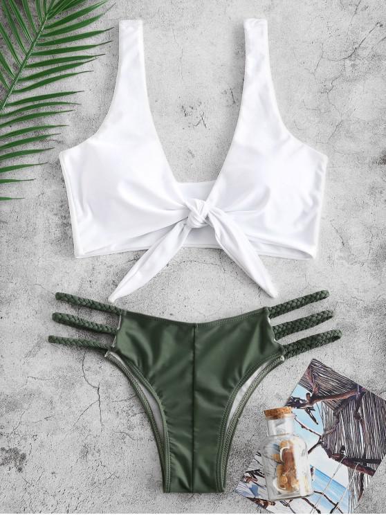 ladies ZAFUL Knotted Braided Lattice Bikini Set - HAZEL GREEN M