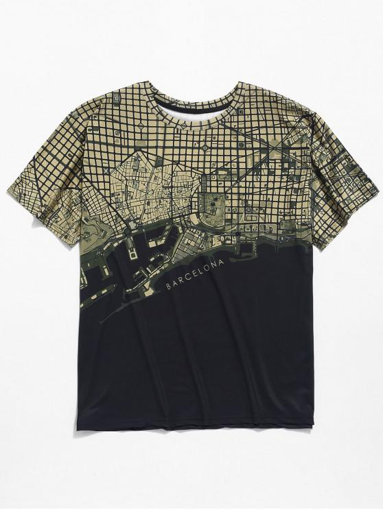 online Map Graphic Print Short Sleeves T-shirt - BLACK 2XL