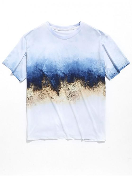 trendy Round Neck Painting Print Casual T-shirt - MULTI L
