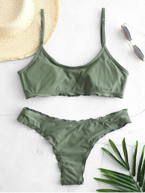 sale ZAFUL Buttoned Lettuce Bralette Bikini Set - CAMOUFLAGE GREEN S Mobile
