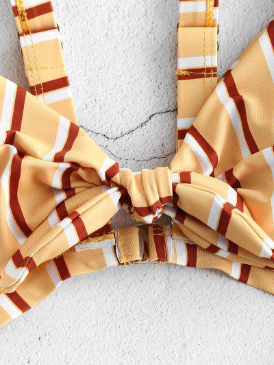 ZAFUL Knot Striped Cut Out Swimsuit, Multi-a