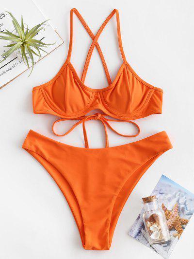 8d9c0cf7e6 ZAFUL Criss Cross Underwire Bikini Set - Pumpkin Orange L ...