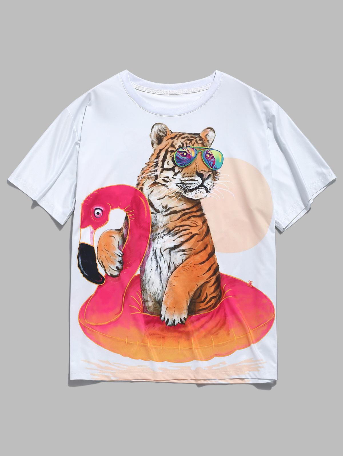 Tiger Animals Print Short Sleeves T-shirt