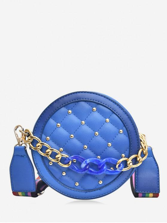 buy Rainbow Strap Rivet Quilted Canteen Bag - BLUE