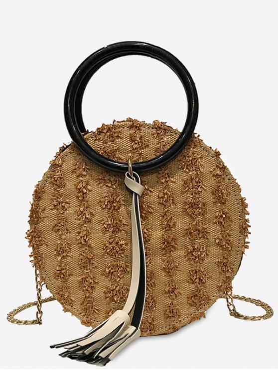 new 2Pcs Tassel Chain Straw Canteen Bag Set - KHAKI